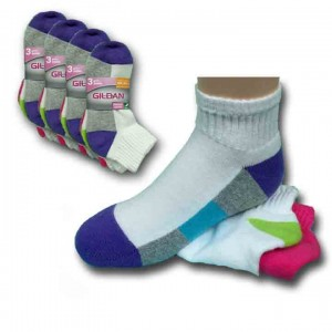 Girls Ankle Assorted Socks by Gildans